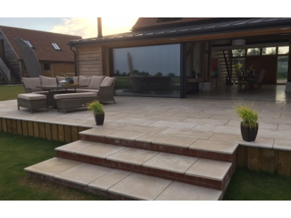 External Limestone Dijon 900x600x25 Tumbled and Brushed  ***Special £34 + Vat m2***